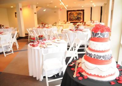 2nd floor lobby, cake and couple's dais