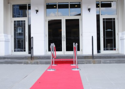 Entrance to Theatre, red carpet & stations