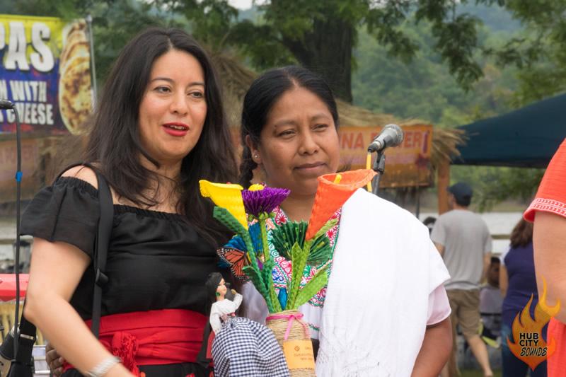 Mexican General Consul Vivian Juarez is presented with flowers.  Photo: Scott Mendenko