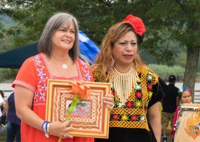 New Brunswick City Councilwoman Rebecca Escobar presented with a gift. Photo: Scott Mendenko